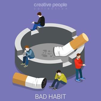 Mauvaise habitude cendrier fumeurs isométrique plat