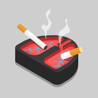 Mauvaise habitude poumons cendrier plat isométrique