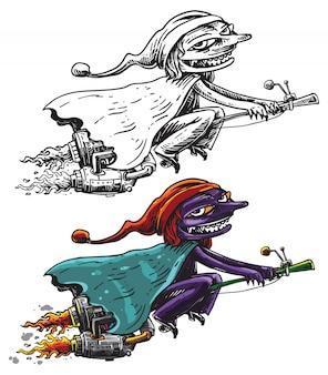 Mauvaise sorcière chevauchant son dessin au trait de dessin animé de balai usiné à la vitesse