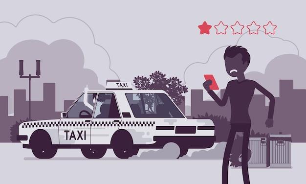 Mauvaise voiture et chauffeur grossier dans le système d'application d'évaluation des taxis