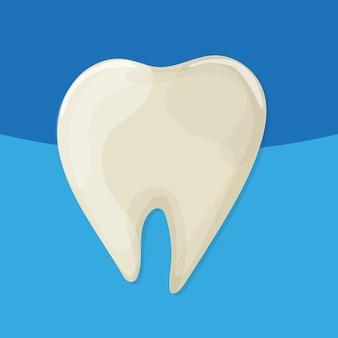 Mauvaises dents jaunes. style de dessin animé de vecteur. fond bleu pour les applications dentaires, web et médicales. illustration vectorielle