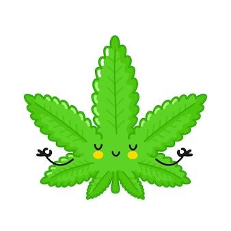 Mauvaises herbes de marijuana mignonnes méditer dans la pose de yoga
