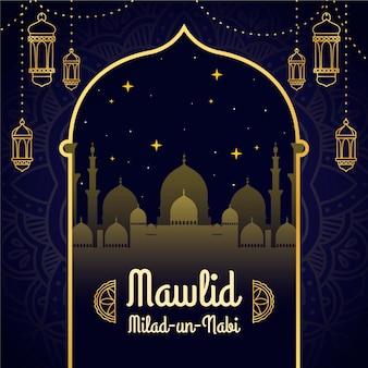 Mawlid milad-un-nabi salutation avec mosquée et lanternes