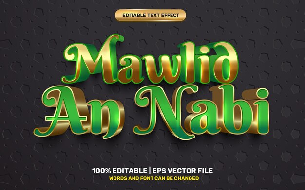 Mawlid nabi 3d luxe vert style de modèle d'effet de texte modifiable