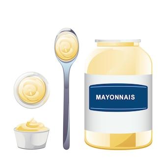 Mayonnaise dans une bouteille en verre avec un ensemble de cuillères. pot avec sauce blanche. conteneur à condiments en style cartoon. illustration vectorielle.