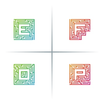 Maze typographie lettre logo design set