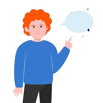 Mec aux cheveux roux pointant sur une bulle de dialogue vide