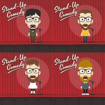 Mec hilarant debout dessin animé comique
