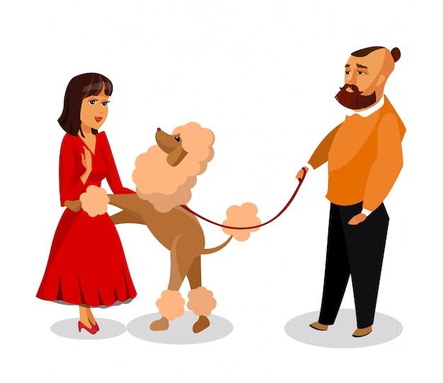 Mec à la mode avec chien sur laisse dessin vectoriel.