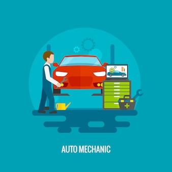 Mécanicien automobile plat
