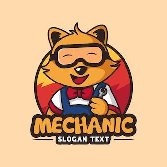 Mécanicien chat logo vector illustration dessin animé icône