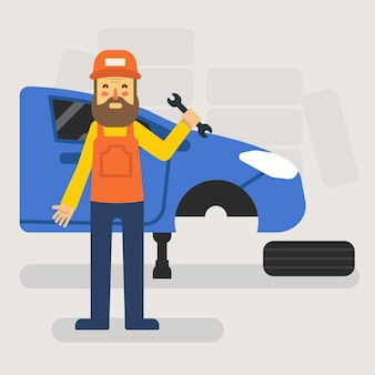 Mécanicien de fixation de voiture dans le garage