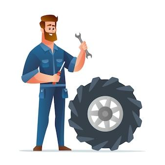 Mécanicien professionnel tenant une clé et un tournevis avec une grande illustration de pneu