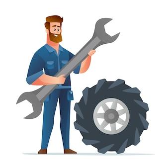 Mécanicien professionnel tenant une grosse clé avec une illustration de gros pneu