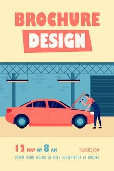 Mécanicien réparant une voiture dans un garage avec un modèle de flyer isolé outil