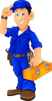 Mécanicien, tenue, boîte utilitaire