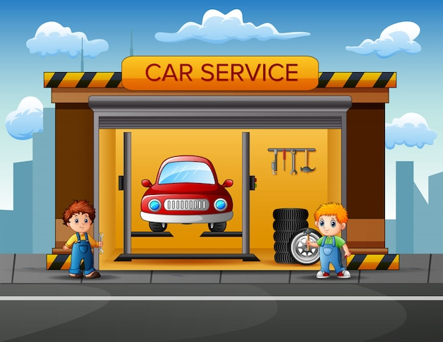 Les mécaniciens veulent réparer une voiture dans un garage