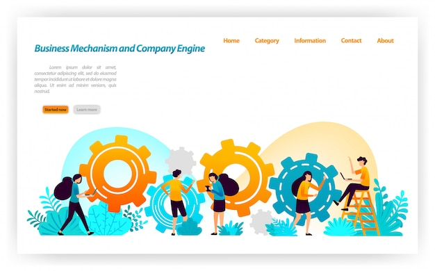 Mécanisme et construction dans la construction de stratégies commerciales et d'équipement dans le développement de la construction de moteurs de l'entreprise. modèle web de page de destination