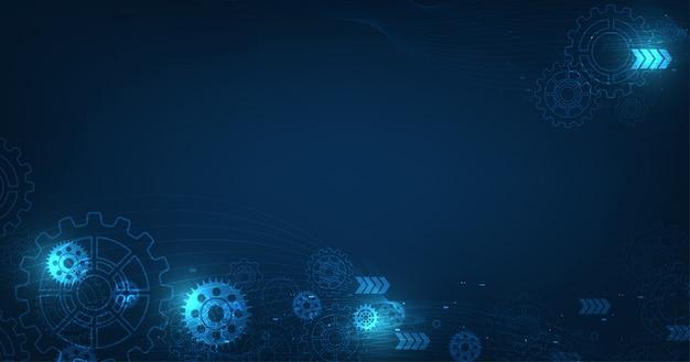 Mécanisme d'engrenage abstrait vectoriel sur fond de technologie de couleur bleu foncé.