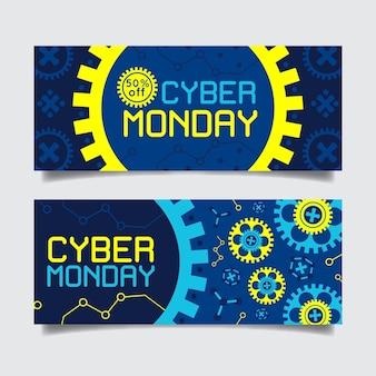 Mécanisme d'horlogerie de bannière cyber lundi design plat