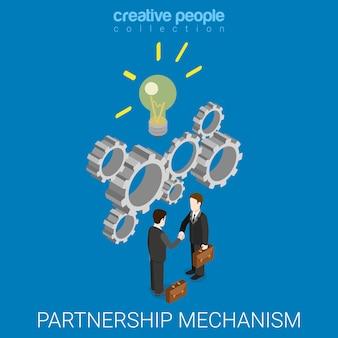 Mécanisme d'idée de partenariat plat isométrique