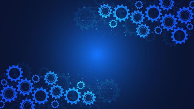 Mécanismes de rouages et de roues dentées. technologie et ingénierie numériques de haute technologie. contexte technique abstrait.