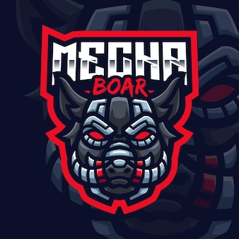 Mecha boar mascot gaming logo template pour esports streamer facebook youtube