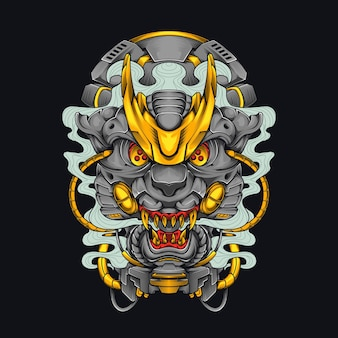 Mecha head leopard jaguar cyberpunk illustration big cat head shirt design avec un thème robot