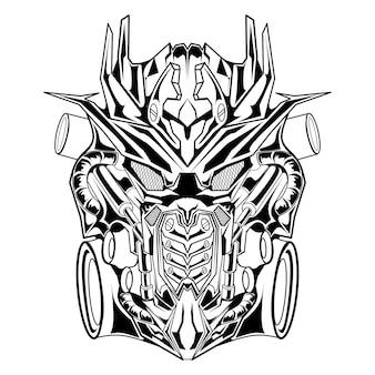 Mecha robot illustration dessinée à la main en noir et blanc