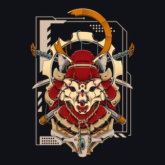 Mecha samurai fox cyberpunk illustration tête de renard avec deux épées de samouraï courtes design de chemise avec un thème de robot