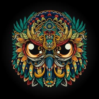 Mecha tête chouette illustration parfaite colorée
