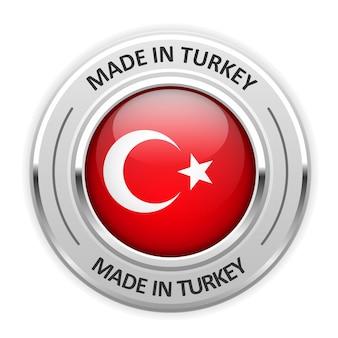 Médaille d'argent fabriquée en turquie avec drapeau
