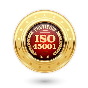 Médaille Certifiée Iso 45001 Vecteur Premium