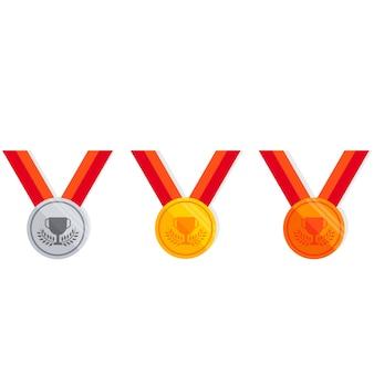 Médaille définie icône plate
