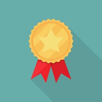 Médaille étoile dorée avec ruban rouge à grandissime