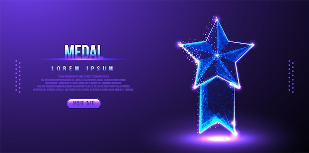 Médaille étoile low poly wireframe