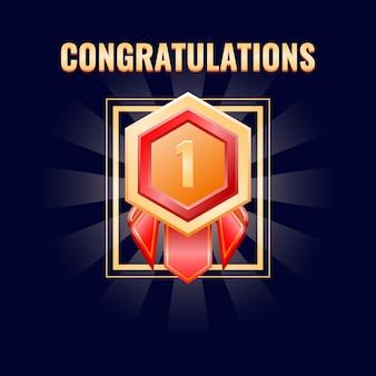 Médaille d'insigne d'or avec interface classée convient pour les jeux 2d