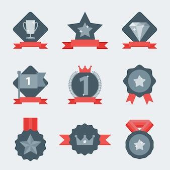 Médaille et jeu d'icônes gagnant.