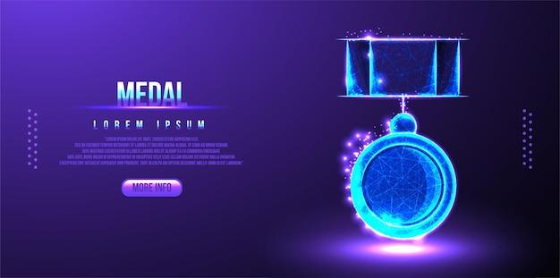 Médaille low poly design, image géométrique abstraite de récompense, lieu de prix maillage filaire polygonal