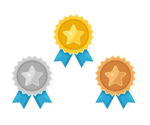 Médaille d'or, d'argent, de bronze sertie d'étoile. trophée, récompense du gagnant