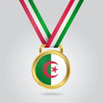 Médaille d'or avec le drapeau de l'algérie