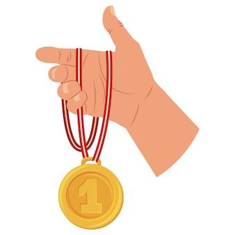 Médaille d'or du vainqueur en main. icône plate de dessin animé isolé sur fond blanc.
