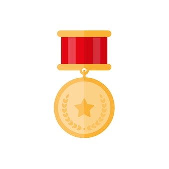 Médaille d'or avec étoile et feuilles