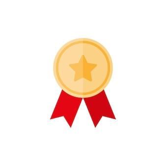 Médaille d'or avec étoile et ruban