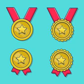 Médaille d'or icône illustration style cartoon plat