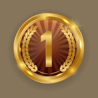 Médaille d'or. icône première place