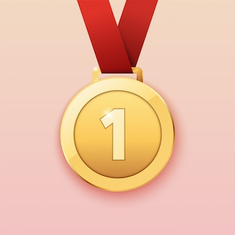 Médaille d'or pour le premier prix. illustration.