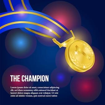 Médaille d'or réaliste avec affiche de fond de bokeh