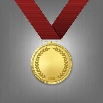 Médaille d'or réaliste avec ruban rouge.