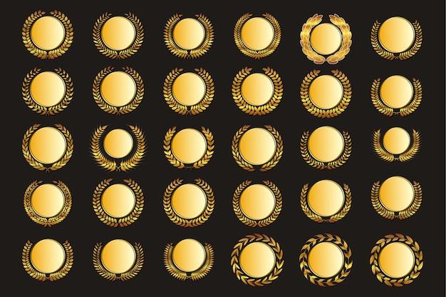 Médaille d'or de vecteur et lauriers
